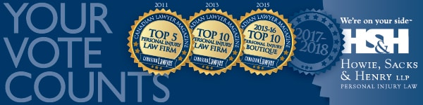 Thank you for Supporting HSH in the Canadian Lawyer 2017-18 Survey of Top Personal Injury Firms