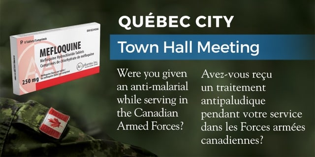 Reunion Publique à Québec: 5 mai 2019/May 5, 2019 – Mefloquine Town Hall Meeting in Québec City