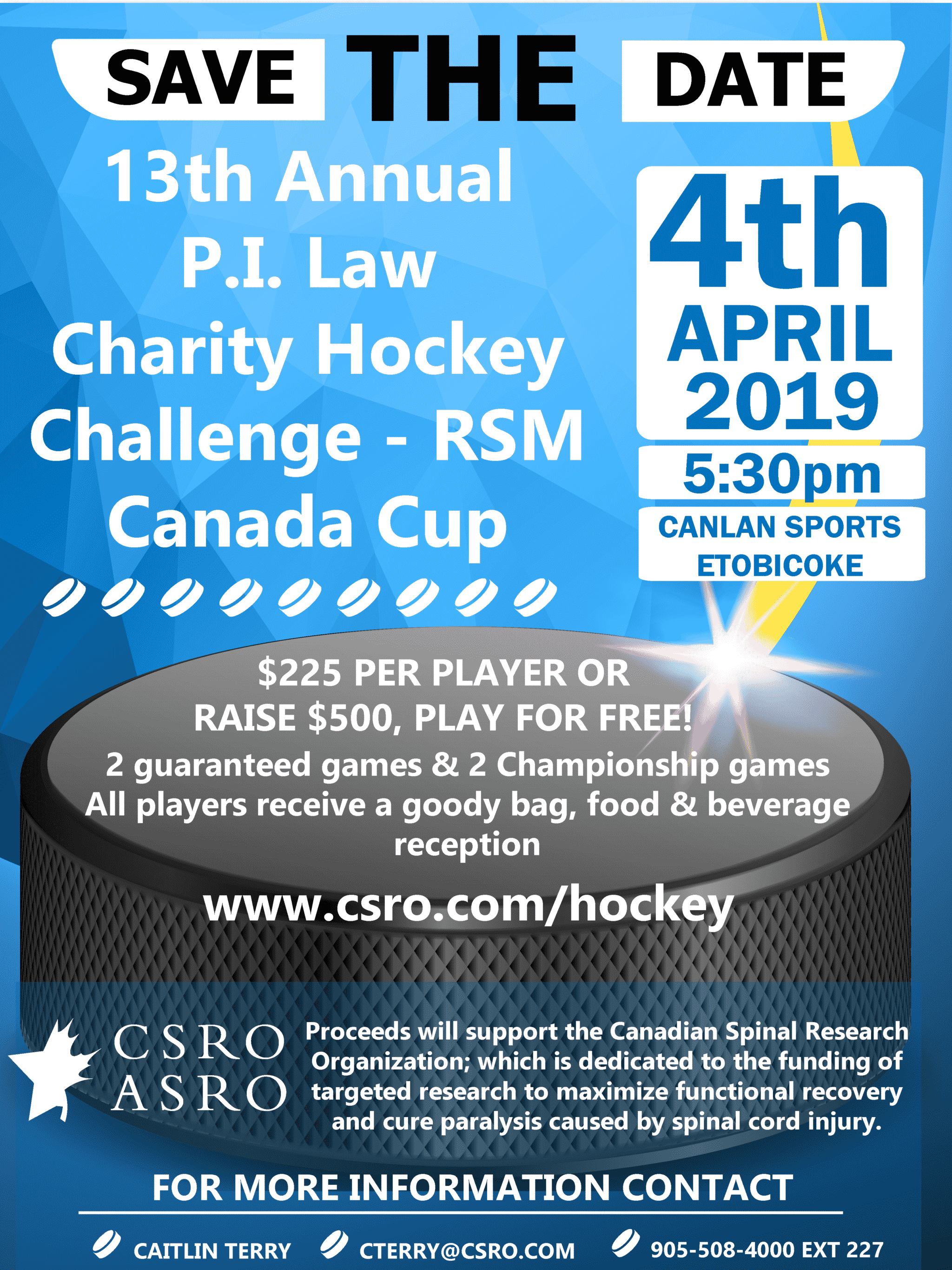April 1, 2019 – 13th Annual Personal Injury Hockey Challenge for Spinal Cord Research
