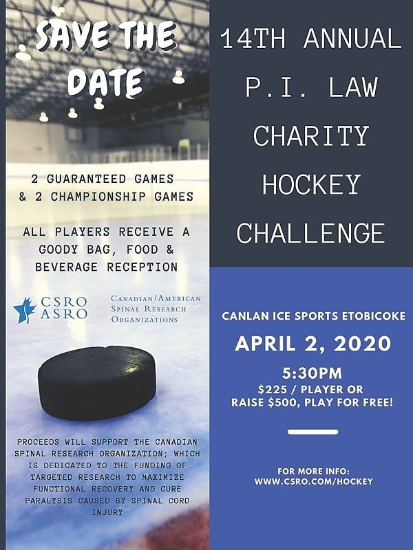 April 2, 14th Annual Personal Injury Hockey Challenge for Spinal Cord Research