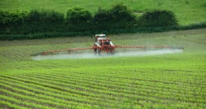 Tractor spraying newly sown crops