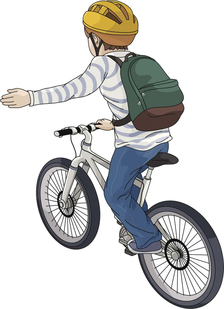 Drawing of a child riding a bike and signaling to turn left