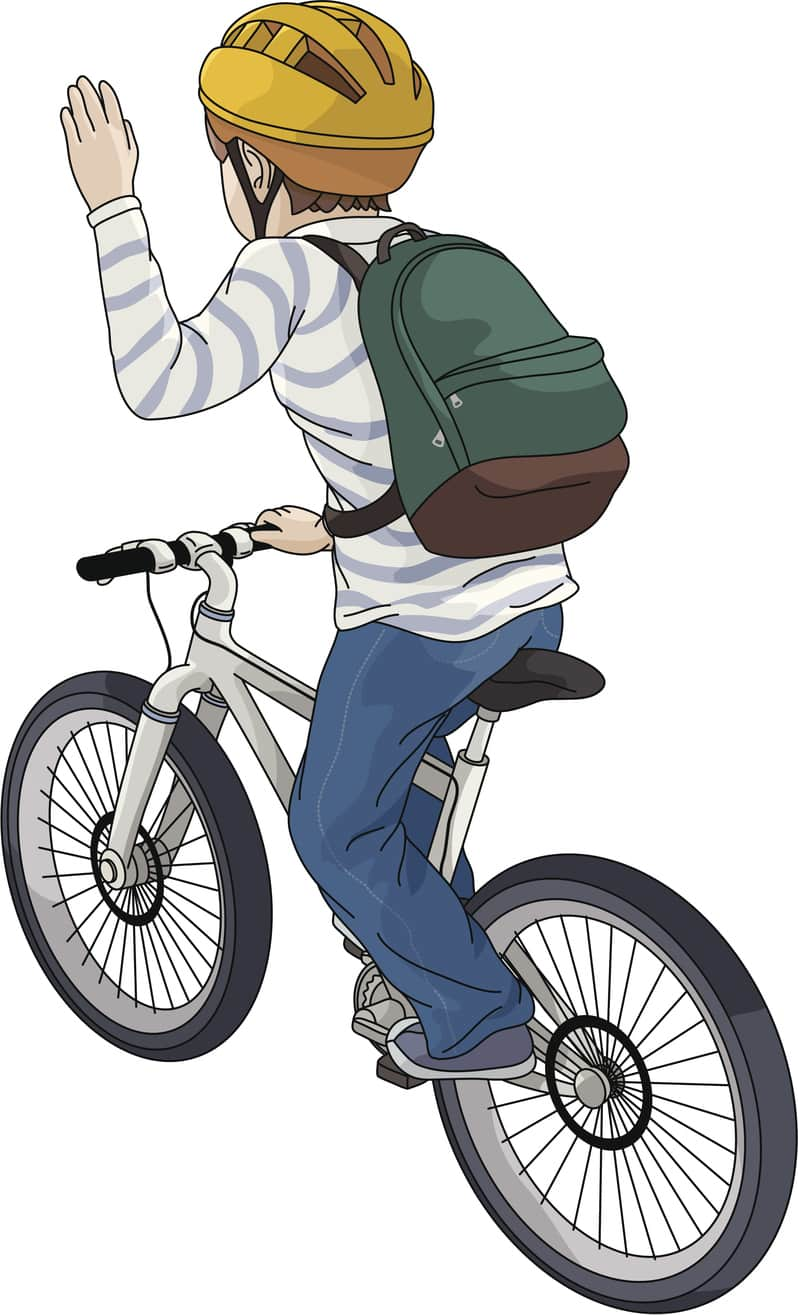 Vector illustration of a boy on a bike giving the signal to turn right