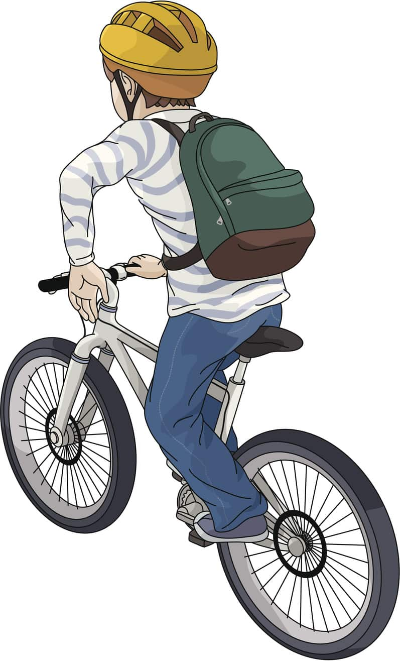 "Illustration of a young boy with brown hair riding a bicycle, looking toward his destination against white background. The boy is wearing a white T-shirt with blue horizontally positioned stripes, a helmet, blue jeans, gray casual shoes and a backpack. The helmet is yellow in color with ridges on top, and it has a black chin strap. The young boy's backpack is green with a brown bottom. The bicycle is light gray in color, with a black seat and handlebars and several spokes on the wheels. The boy has his left arm extended and bent at the elbow, with his left hand pointing down in the ""Stop"" sign."