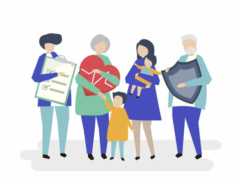 Characters of an extended family with healthcare illustration