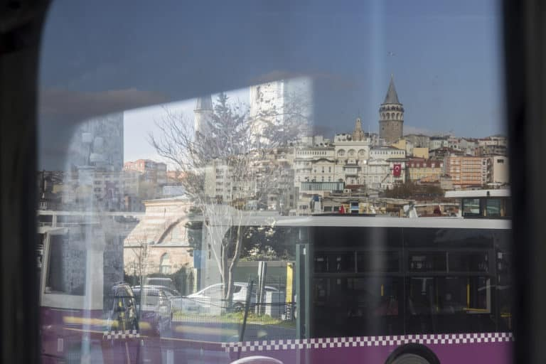 Slightly Distorted View from the window of urban transport on the part of Istanbul