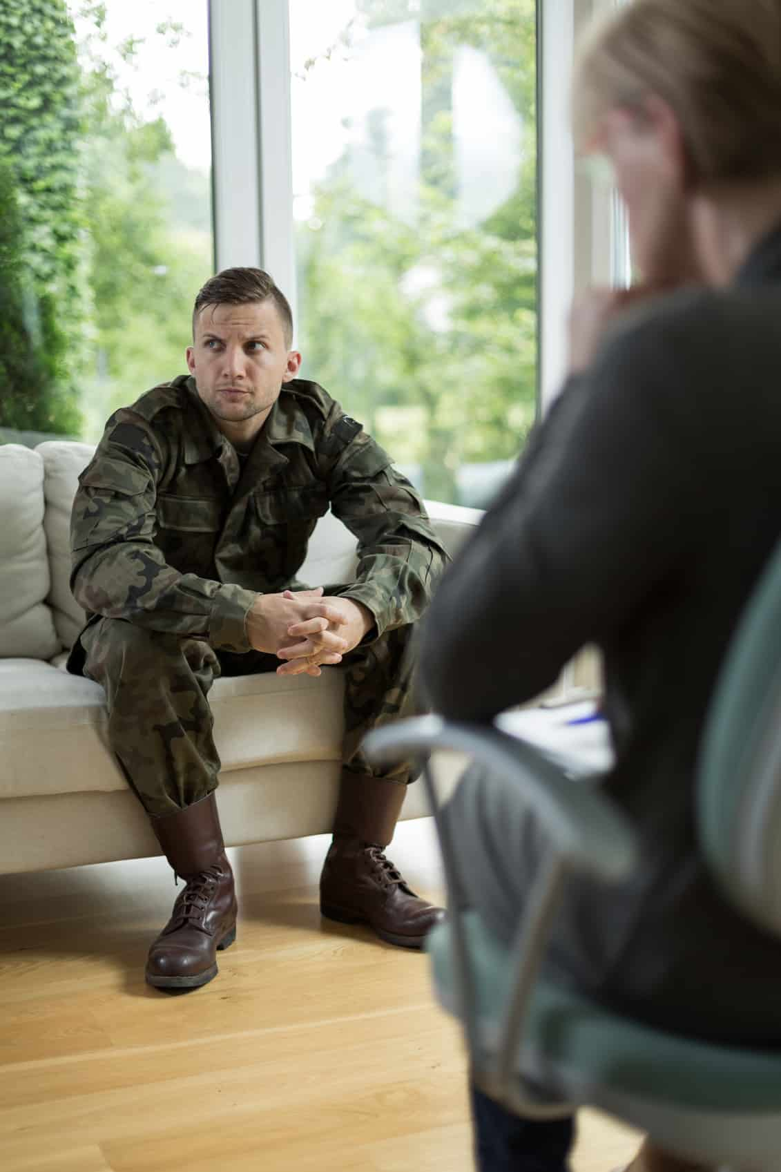 Image of soldier with posttraumatic stress disorder during therapy
