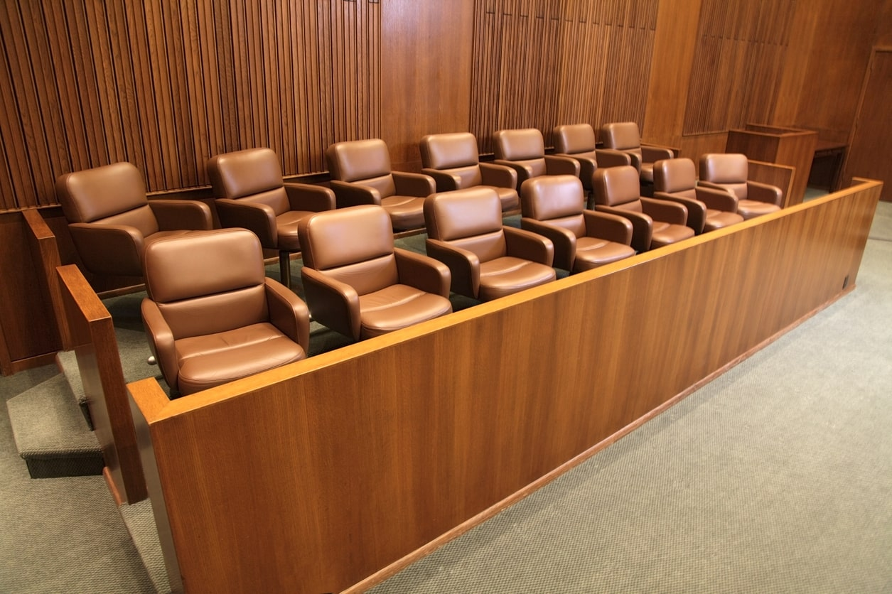 A courtroom jury box